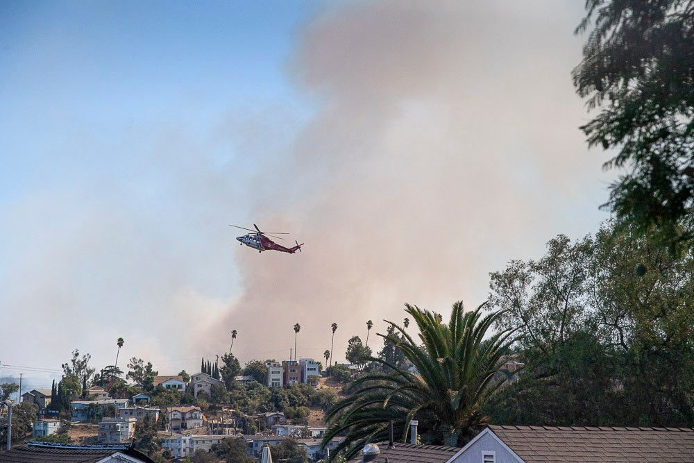 Water dropping helicopter Montecito Heights