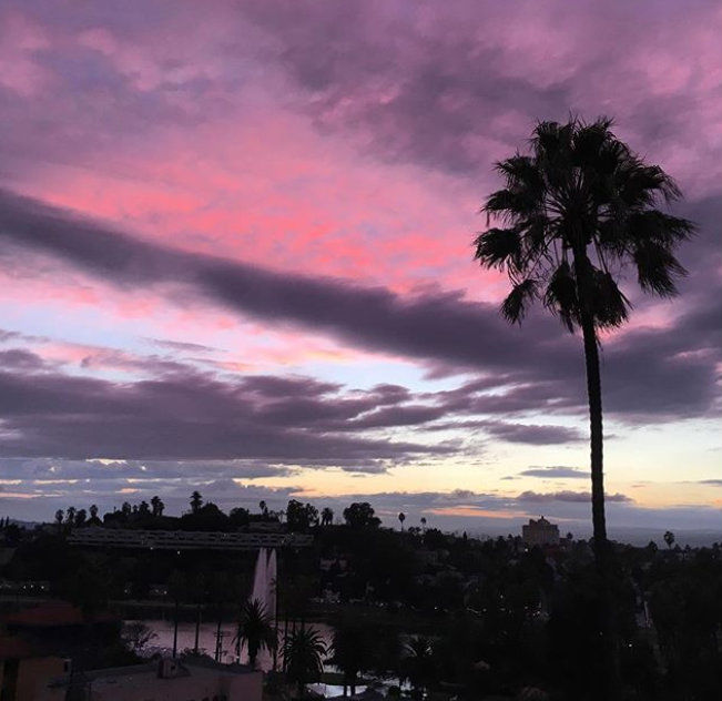 Pink and purple sky over Echo Park;  blue and gold Boyle Heights sunset