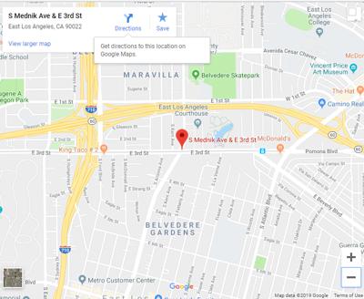 Google map of Mednik and 3rd Street East los angeles