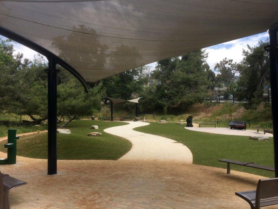eagle rock dog park sneak peek shade structure april 2019.jpg