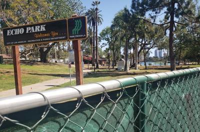 Echo Park Lake behind a fence