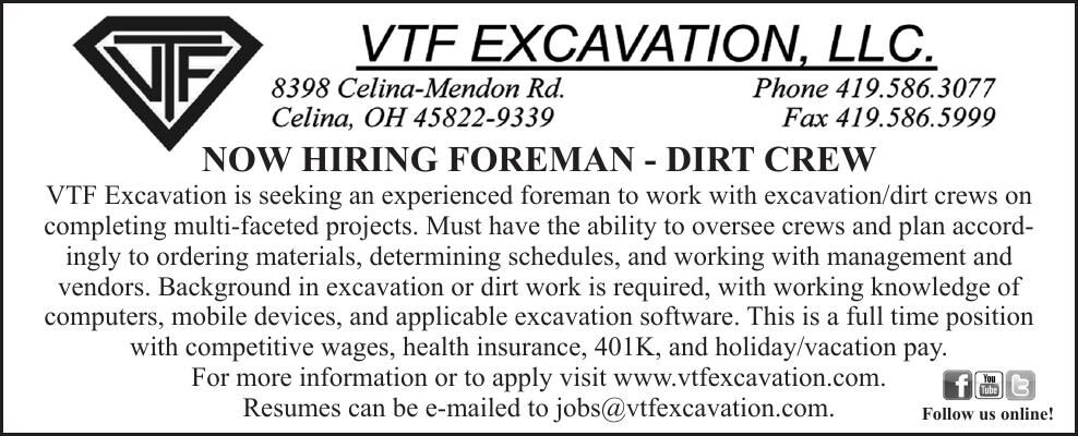 NOW HIRING FOREMAN - DIRT CREW