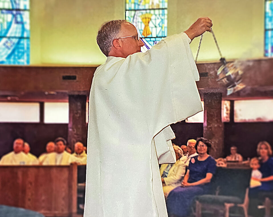 Deacon Dave Camous during his first mass as a deacon at St. Francis of Assisi in Colorado Springs.