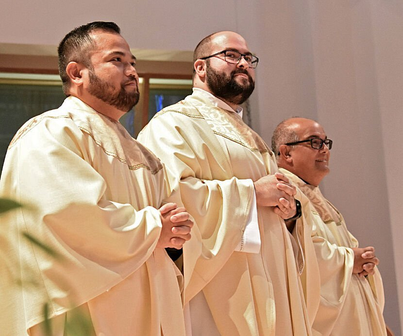 Ordianed to the Order of Priest by Bishop John Noonan - Fathers Nathanael Soliven, Francisco Ojeda and Roberto Marquez, at the Basilica of the National Shrine of Mary, Queen of the Universe, Orlando, May 29.