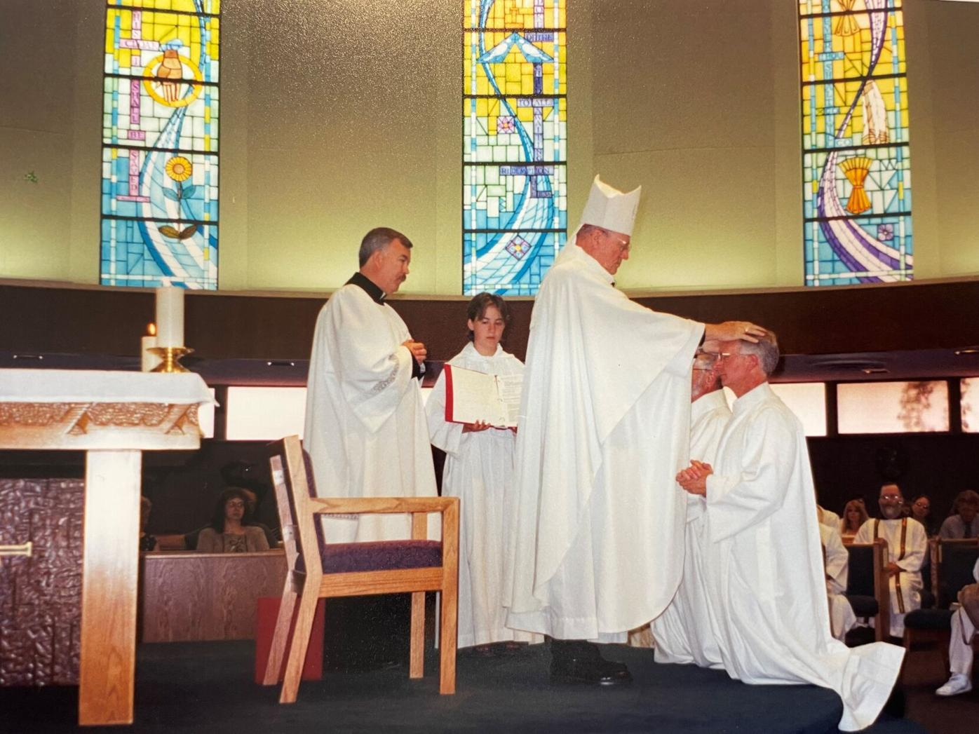 Bishop Richard Hanifen ordains Deacon Dave Camous, June 2, 2002 at St. Francis of Assisi Catholic Church, Colorado Springs.