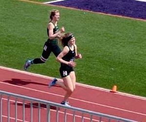 <p>South Park junior Morgan Burnett (pictured in at top) makes her move during the Salida Invitational April. 7. The middle long distance sprinter is currently ranked in the top 18 of the class 2A Colorado State standings.</p><p>(Photo by Lori Slifka)</p>