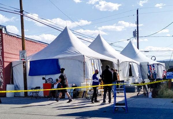 Tent city for Film crew