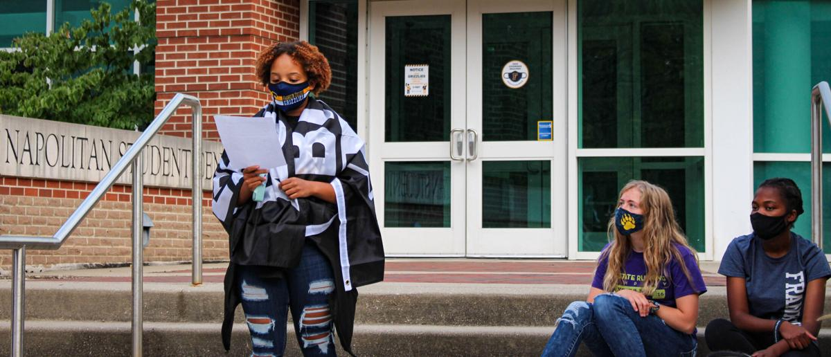 Alexis Cheatham speaks at campus BLM rally