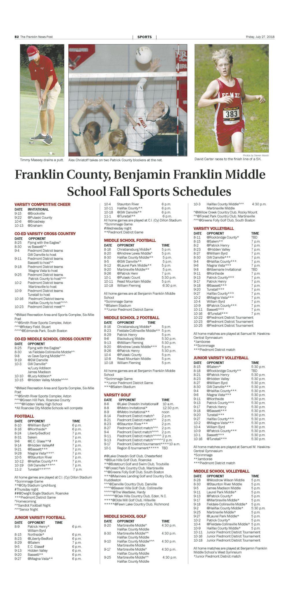 FRANKLIN COUNTY/FERRUM COLLEGE FALL SCHEDULES