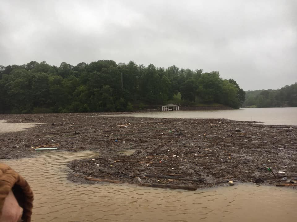 debris to lake