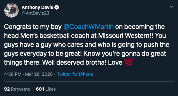 Anthony Davis tweet
