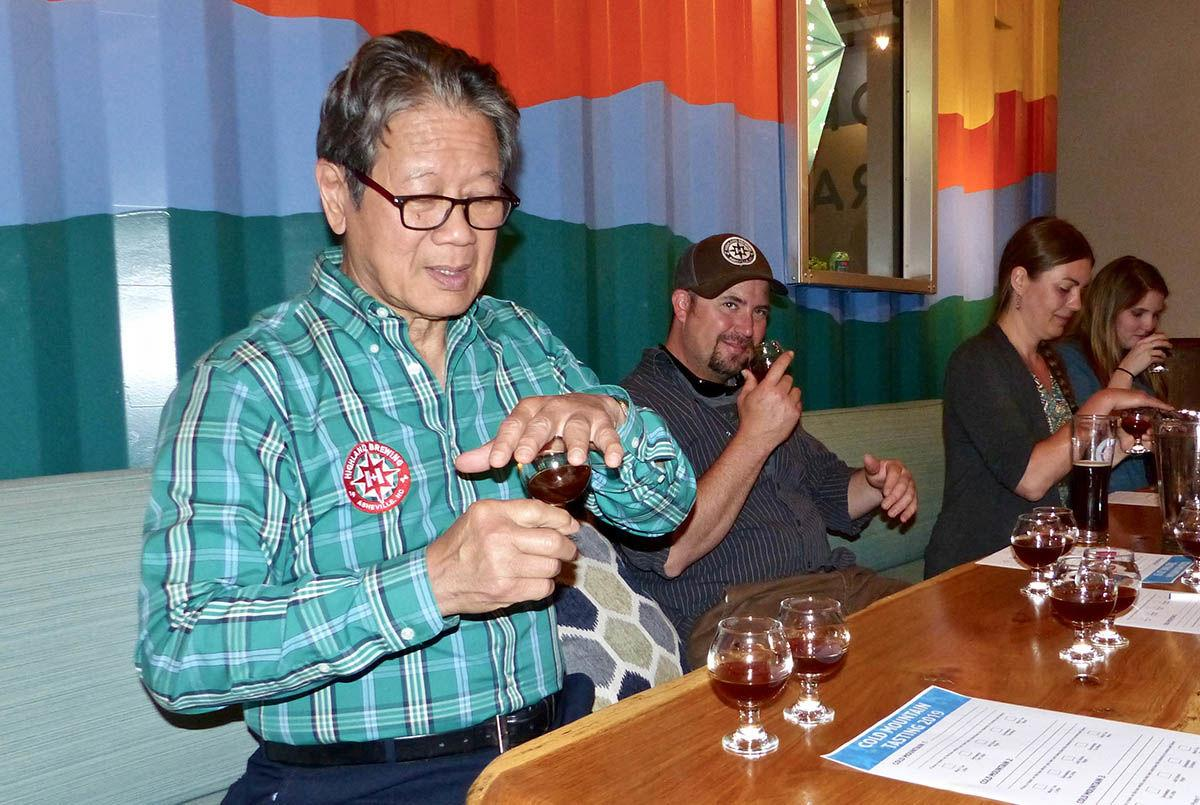 Highland Brewing's founder, Oscar Wong, at the 2019 Cold Mountain Winter Ale prreview tasting