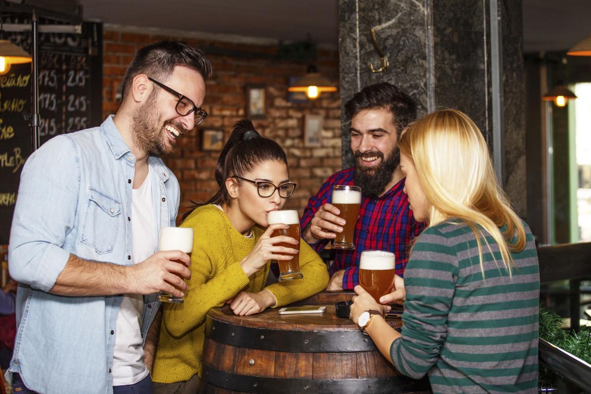 Drinking beer at pub