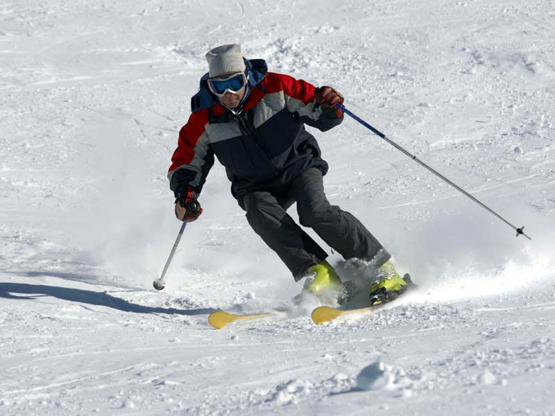 skier on the snow slope