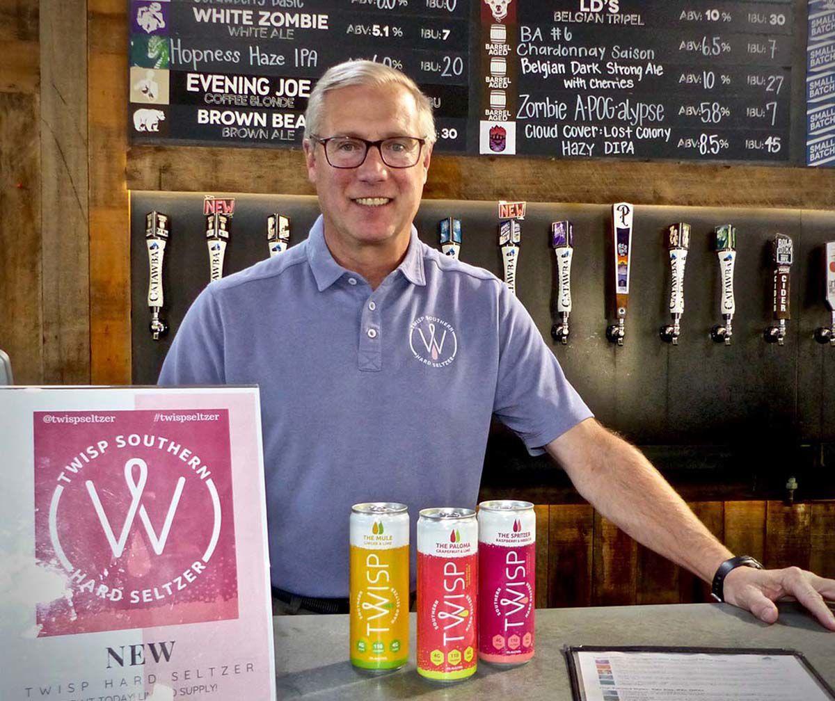 Catawba Brewing's Billy Pyatt with Twisp Southern Hard Seltzers in Asheville