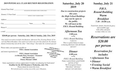 25th ANNUAL... PHS ALL SCHOOL REUNION SET FOR JULY 20th-21st, 2019