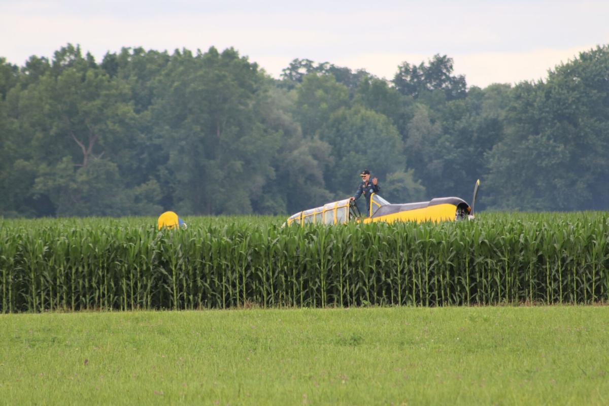 Harvard plane awaits repairs AIRSHOW INCIDENT: Vintage aircraft damaged after landing ended in cornfield