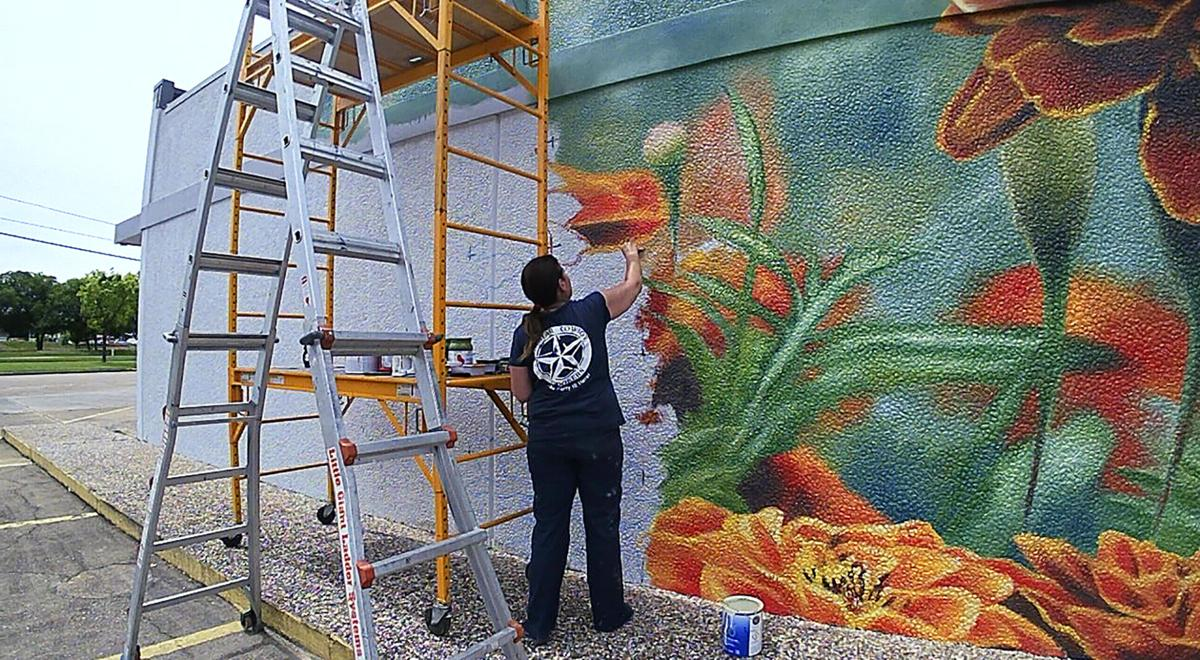 1. Anat Ronen painting __One Love__a 14 x 40 foot mural at 3344 E. TC Jester.jpg