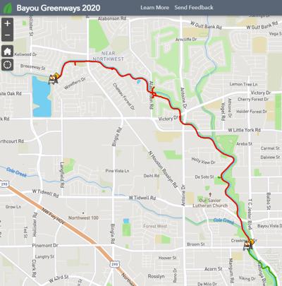 White Oak Bayou Trail Detour Map