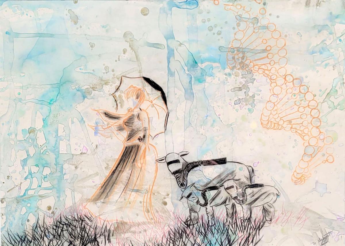 1) A mixed media painting titled Storm by Mission Jade Art & Wine Walk participant D'Montserrat.jpg