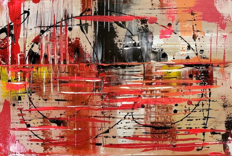 An abstract painting by artist Leslie DeHaven