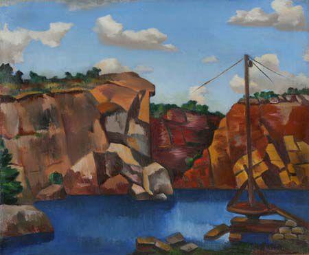 Jan Matulka Oil on Canvas Painting