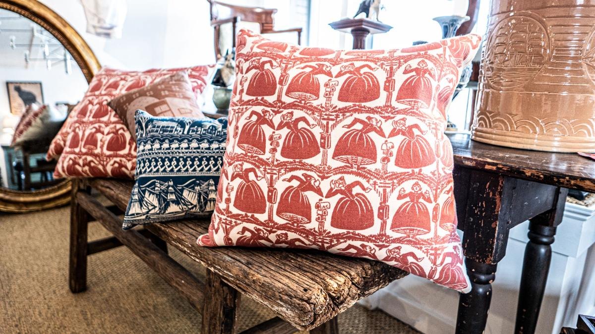 """""""GOSSIPS"""" ACCENT PILLOW / FOLLY COVE DESIGNERS TEXTILES at Andrew Spindler Antiques"""