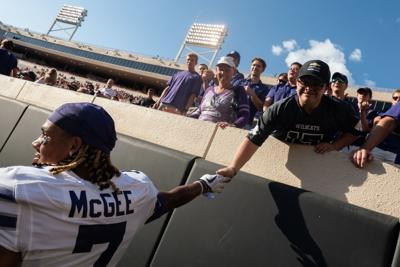 Kevion McGee with K-State fan