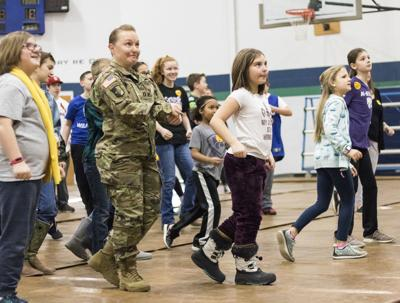 US Army Capt. Amber Grimsley and daughter Corianna at Flint Hills Christian School