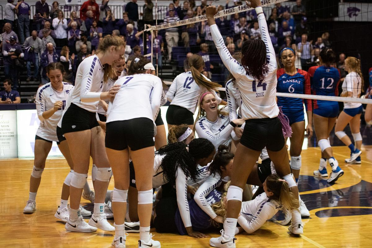 K-State volleyball team celebrates