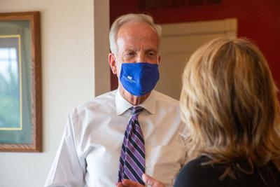 Senator Jerry Moran listens as Christine Benne describes the transformation to her house. December 2019 Paul Benne passed away leaving Christina Benne with the house that was transitioned to being accessible for Paul's disabilities.