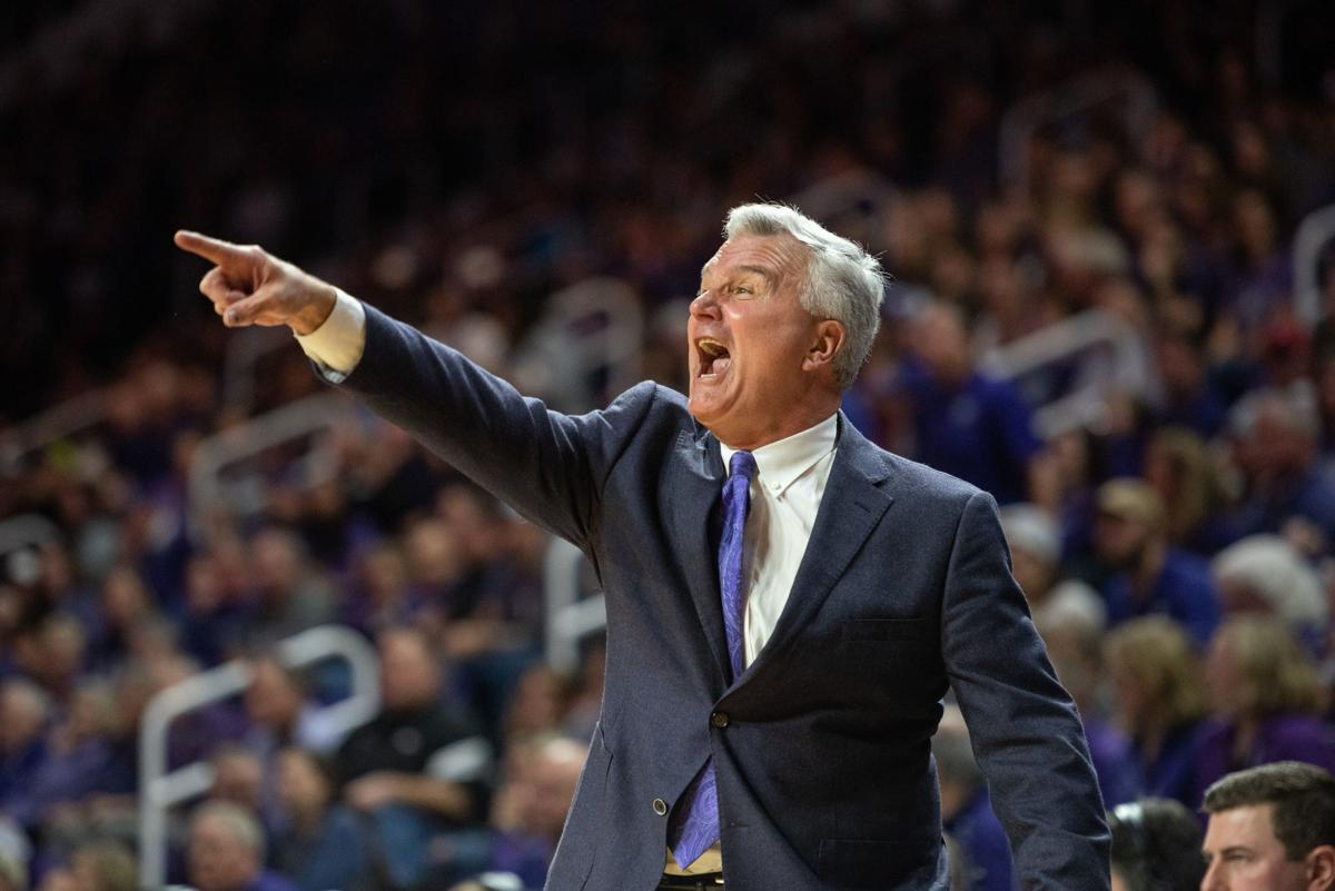 K-State head coach Bruce Weber yells at his team from the sideline.