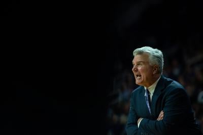 K-State head coach Bruce Weber yells at his team from the sideline during the second quarter.