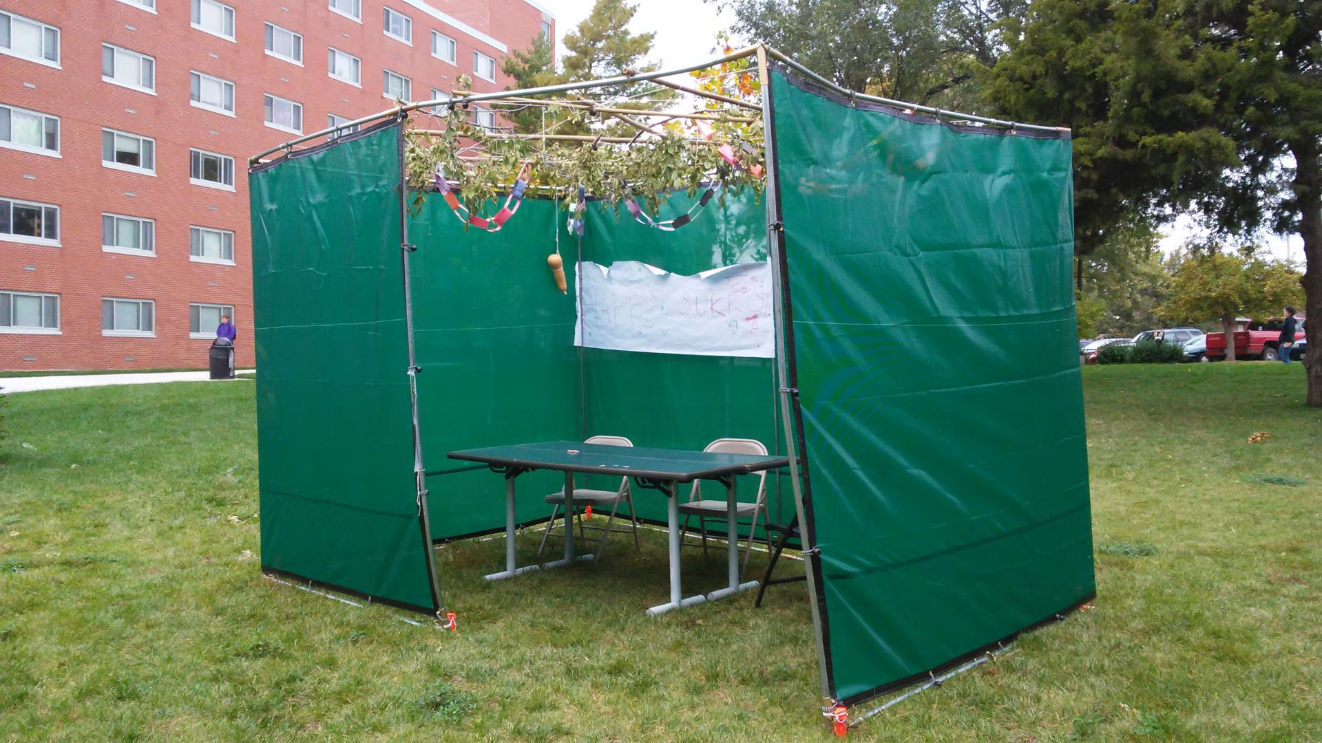 A sukkah a structure for a Jewish religious holiday was rebuilt Sunday near Kramer Dining Center after being destroyed this weekend. : jewish tent holiday - memphite.com
