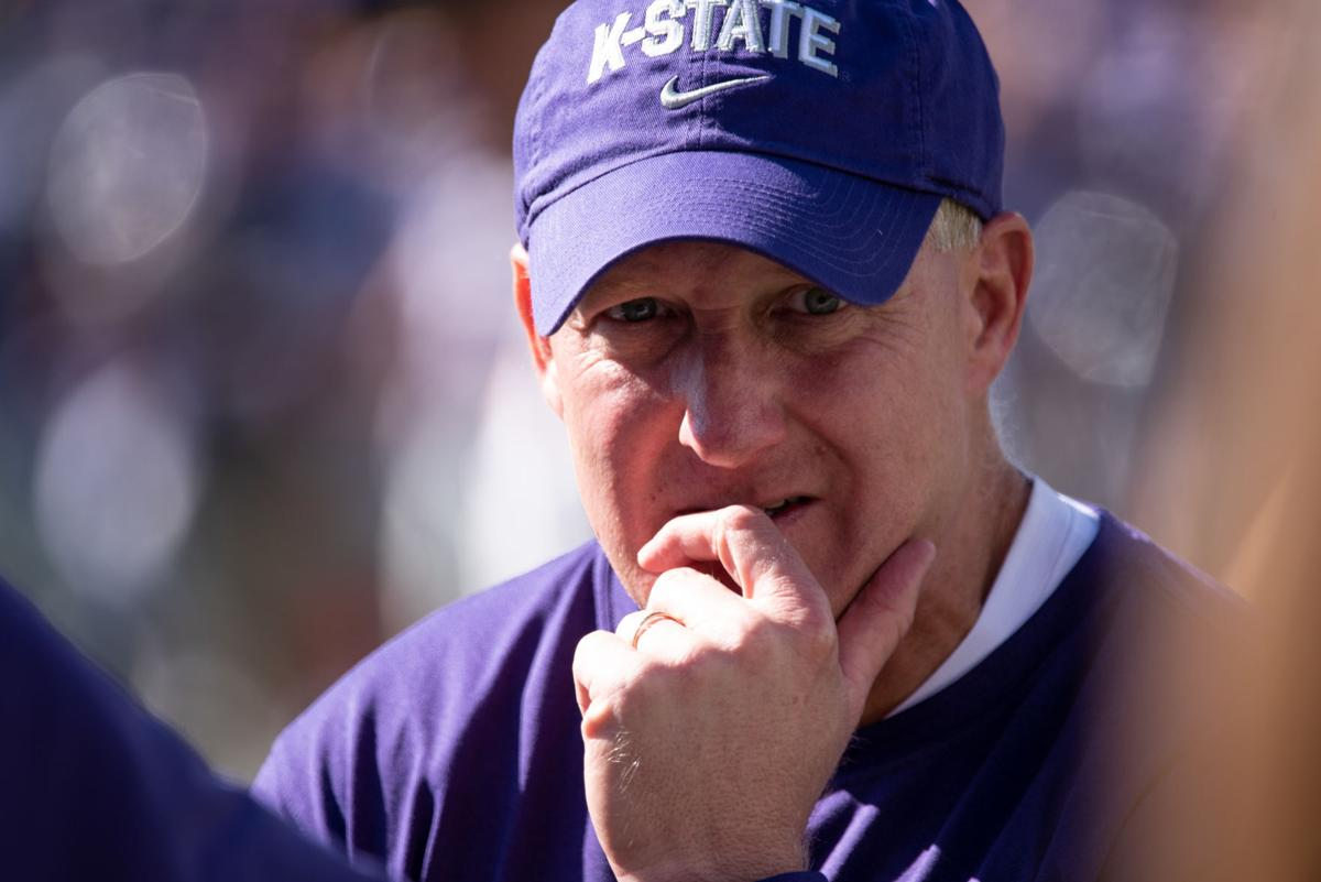 K-State head coach Chris Klieman looks at the OU sideline