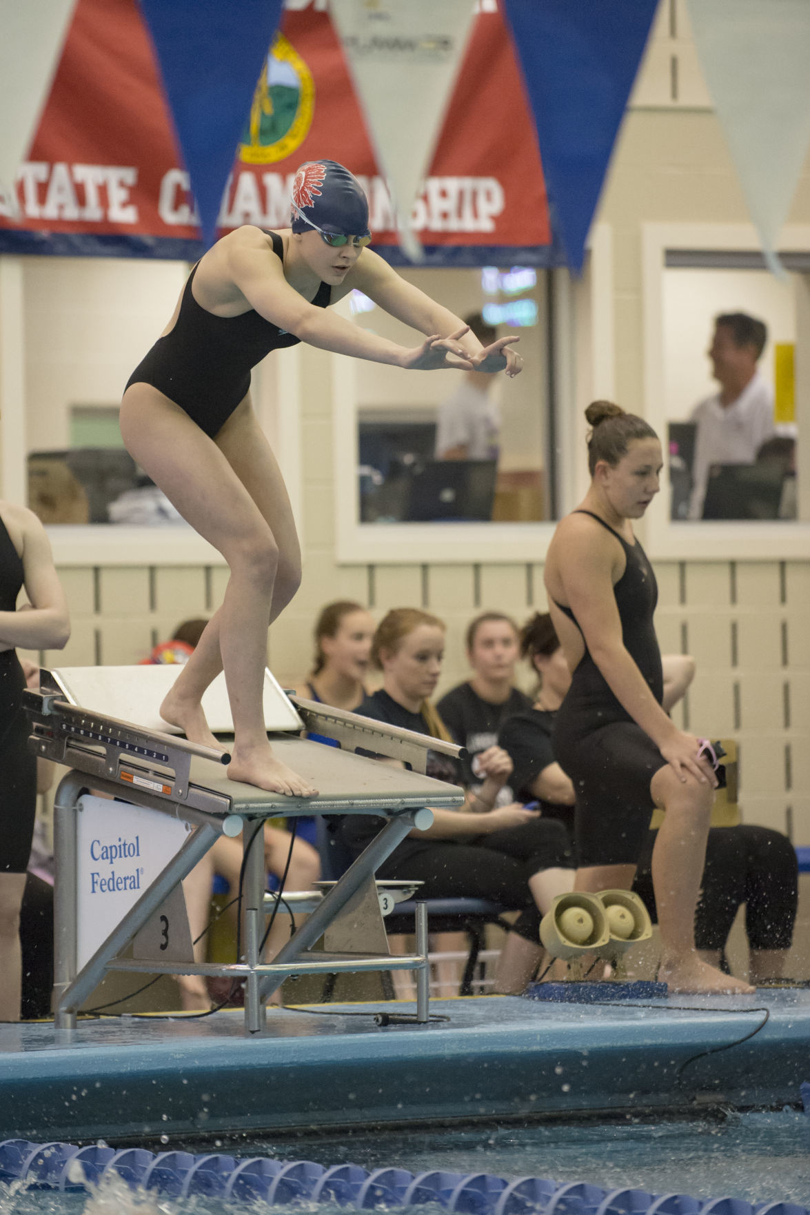 MHS swimming, Holly Randall at state meet 2019