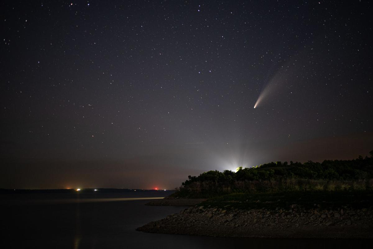 Comet NEOWISE or C/2020 F3 flies above Tuttle Creek Lake on Thursday evening at 10:44 p.m. The comet was first identified by the infrared-optimized NEOWISE spacecraft (short for Near-Earth Object Wide-field Infrared Space Explorer) on March 27, 2020 and will be visible to the naked eye until the end of July 2020. Comet NEOWISE can be found under the Big Dipper when looking in the Northwest direction. Comet NEOWISE is traveling at a speed of 17,500 miles per hour and won't be visible for another 6,800 years.