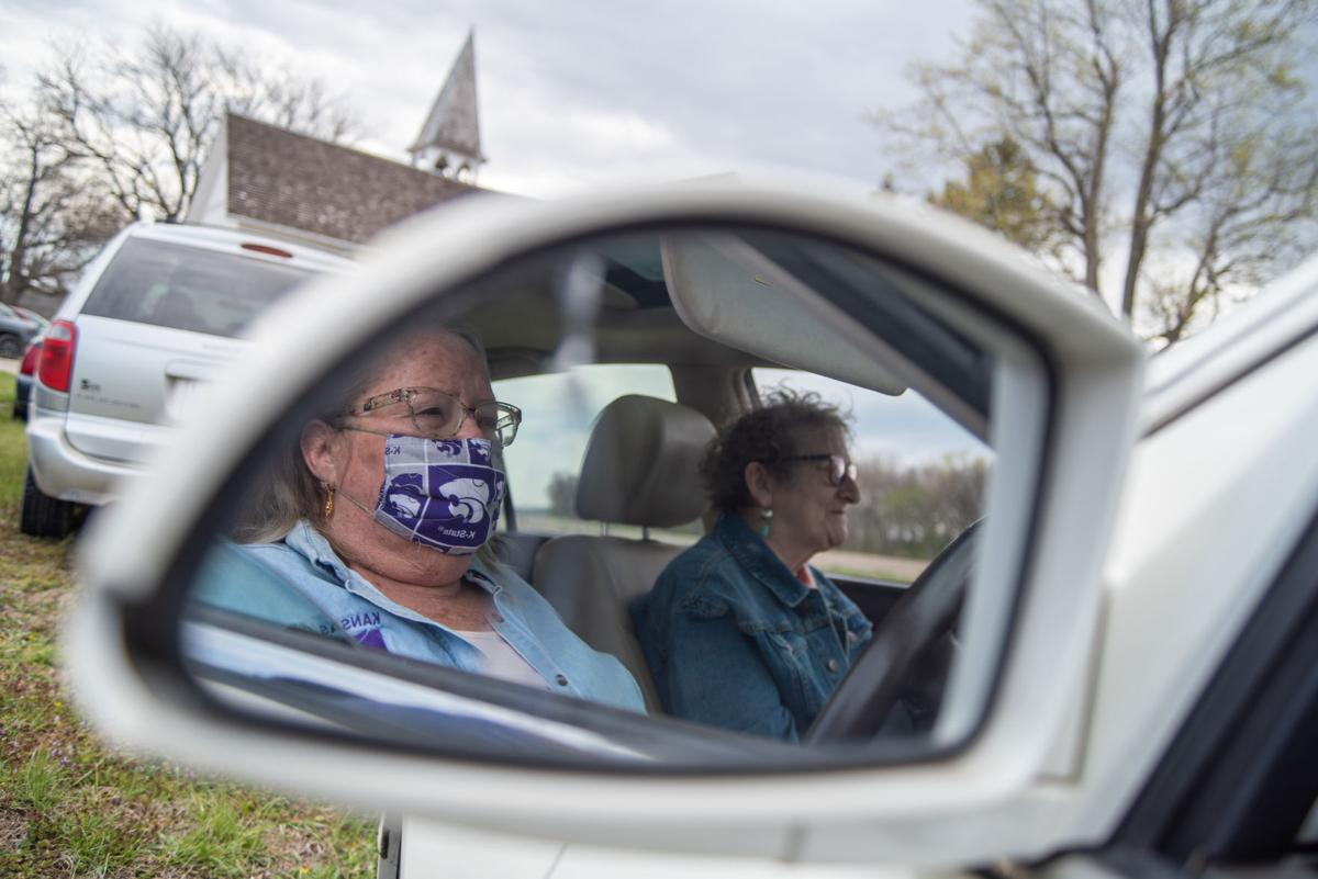 June Johnson (left) and  Susan de la Rambelje (right) sit in their car outside of Ashland Community Church on Sunday. ÒI was born and raised here,Ó said Johnson. ÒI come back as much as possible,Ó she added.