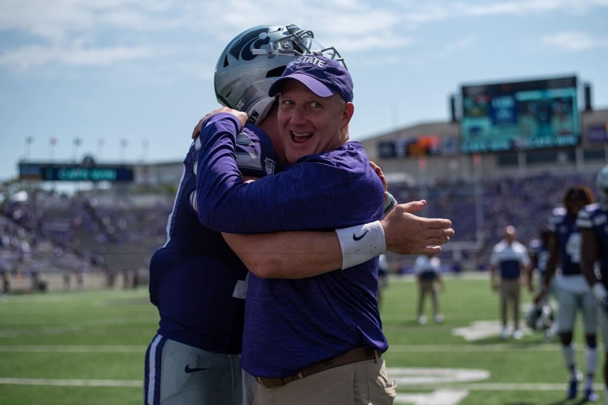 K-State head coach Chris Klieman hugs Skylar Thompson (10) after defeating Bowling Green 52-0.
