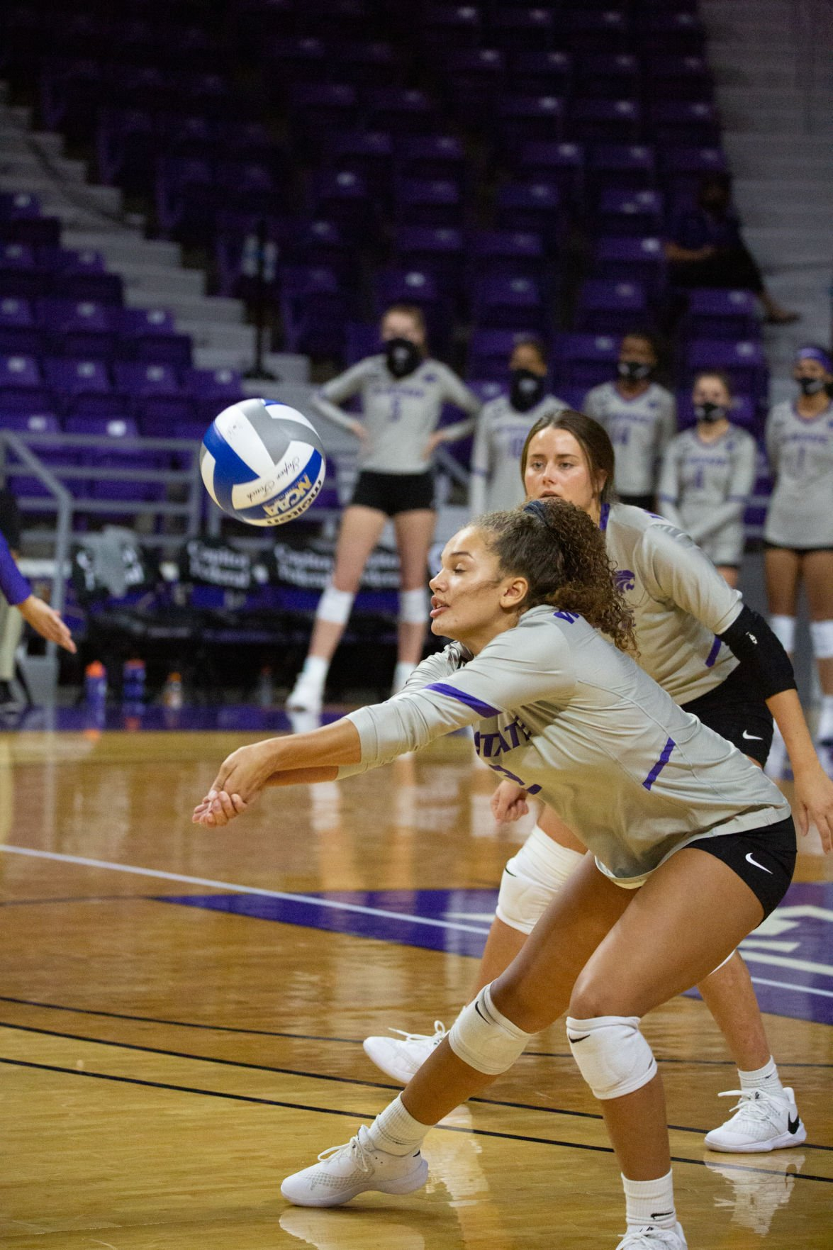 Aliyah Carter (2) sets up ball for setter during play. K-State Volleyball faced Iowa State on Saturday night beating out Iowa 3-1 sets at Bramlage Coliseum.