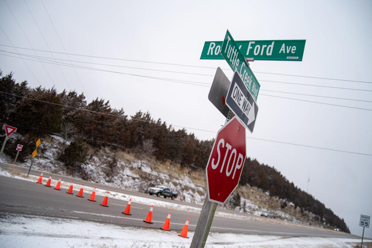 Tuttle Creek Boulevard is closed off with cones at the Rocky Ford Avenue intersection.