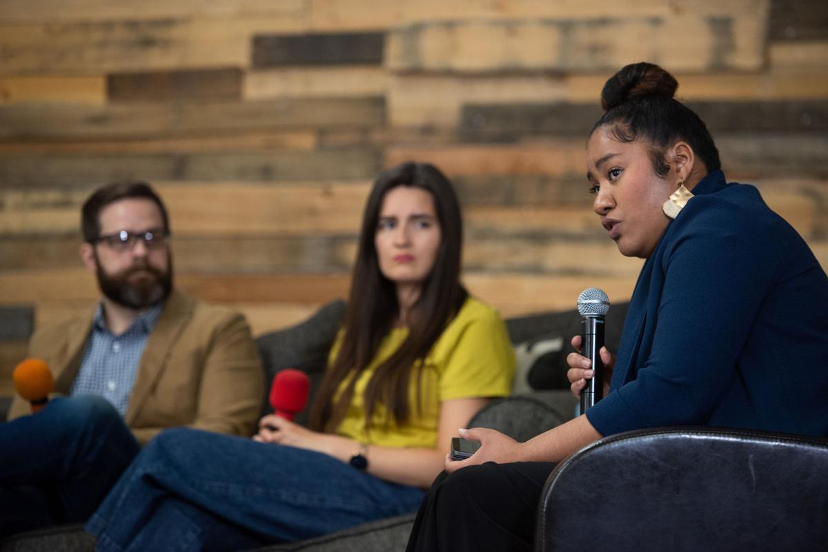 Sheila Ellis-Glasper speaks during the virtual talk centered around understanding racial reconciliation and the church next to Sarah Siders and Josh Siders at Manhattan Christian Fellowship Church on Thursday.