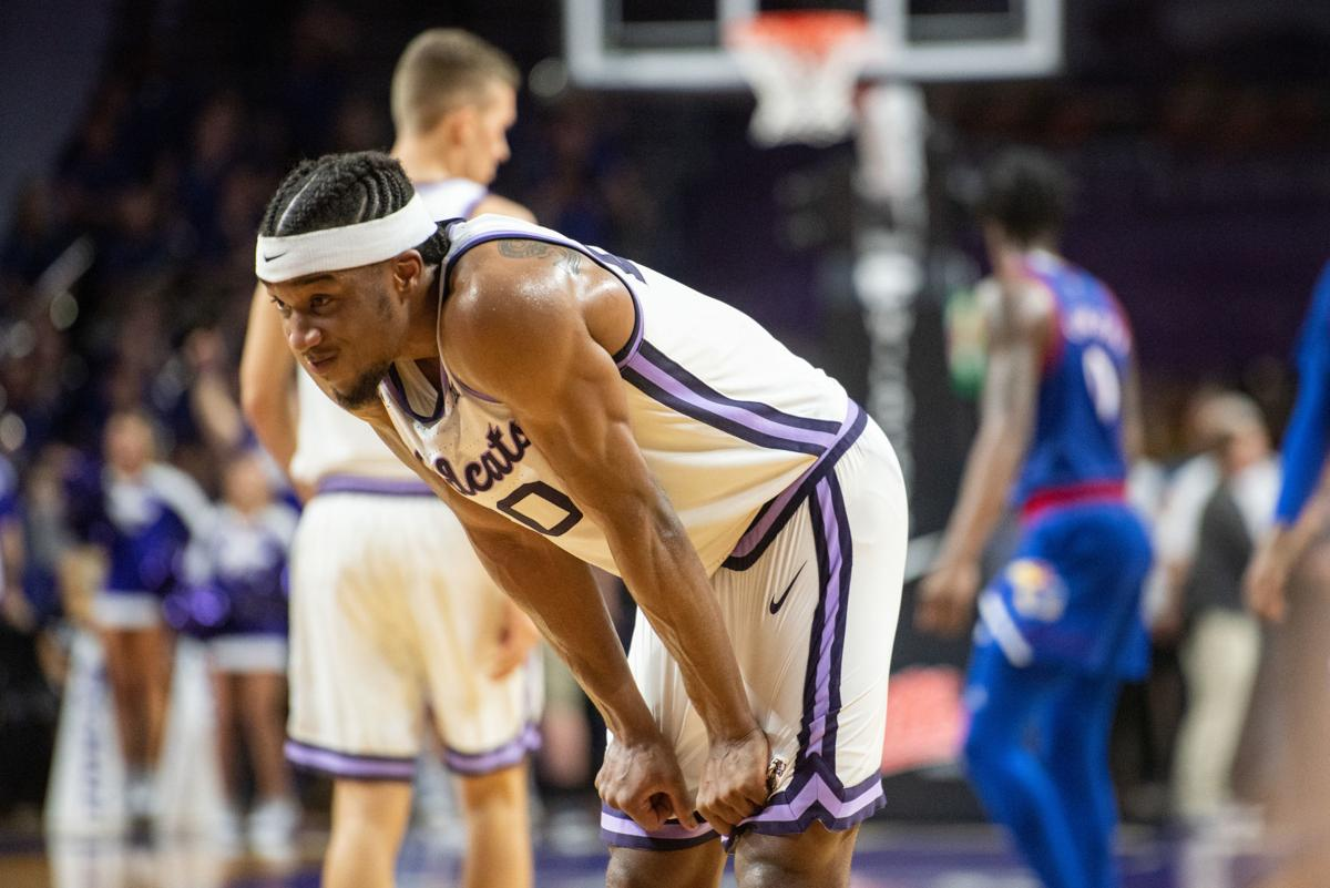 Xavier Sneed (20) has a moment to himself after missing a three point attempt on the prior play which would have put K-State one point away from tying the game.