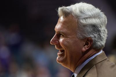 K-State head coach Bruce Weber smiles while on the sideline as the clock runs out of time. K-State won 86-41 over Alabama State.