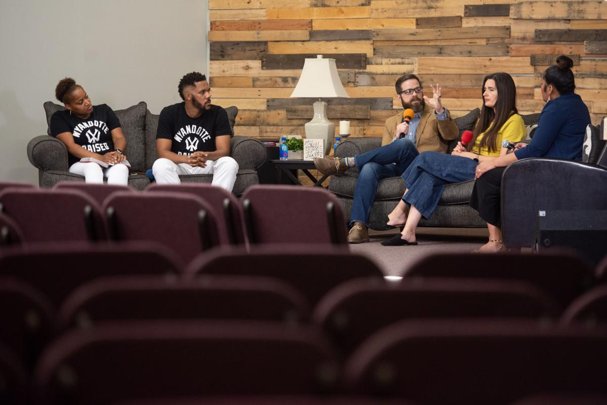 From left, TeAndra Rhone, JahVelle Rhone, Josh Siders, Sarah Siders and Sheila Ellis-Glasper discuss understanding racial reconciliation and the church while on a live stream at Manhattan Christian Fellowship Church on Thursday.