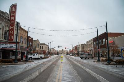 Poyntz Avenue is covered in ice and slush on Friday morning.