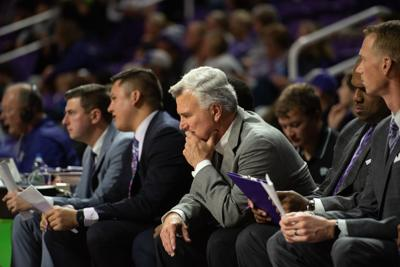 K-State head coach Bruce Weber has a moment to himself on the sideline after a K-State timeout