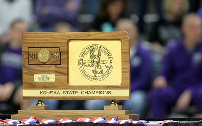 2A girls basketball state title trophy
