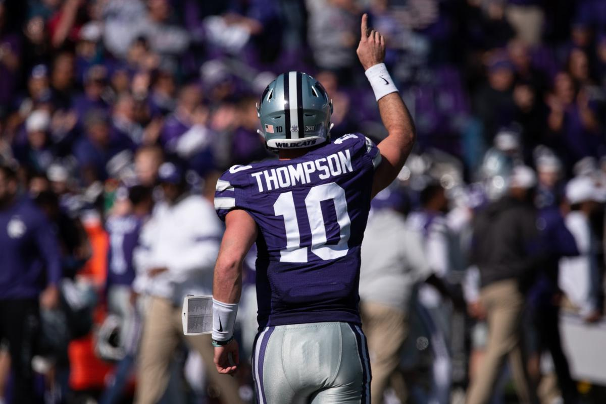 Skylar Thompson points to the sky