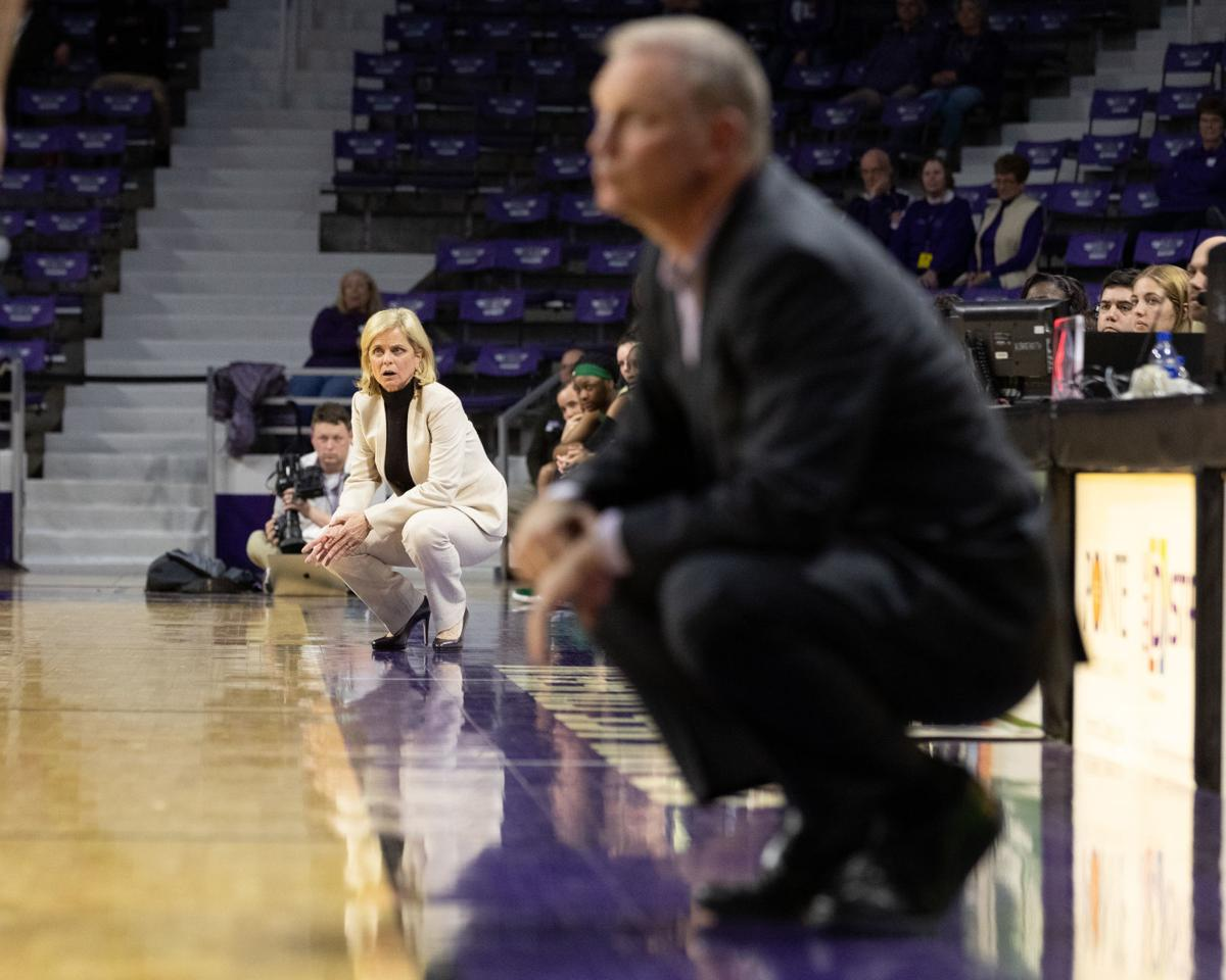 K-State vs. Baylor WBB Feb. 2019 Jeff Mittie and Kim Mulkey